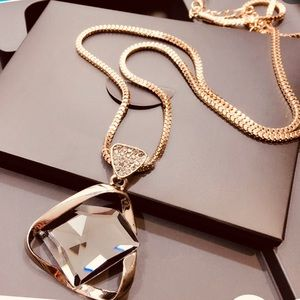 European Fashion Geometric Crystal Charm Necklace
